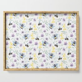 Watercolor Bees and florals | Save the bees Serving Tray