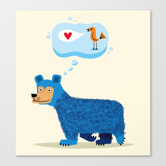 Bear Thinks Of Bird Canvas Print
