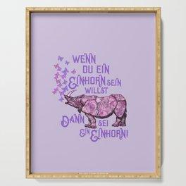 Nashorn Einhorn Motivation Humor Serving Tray