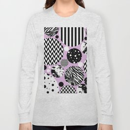 Eclectic Black And White Circles On Pastel Pink Long Sleeve T-shirt