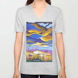 Pretty in Pink, Pink floral landscape, Abstract Landscape Unisex V-Neck