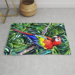 Scarlet Macaw in Rainforest Rug