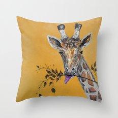 Giraffe in Orange Throw Pillow