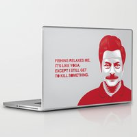 swanson Laptop & iPad Skins featuring Swanson 'Fishing' by courtney2k ⚓ design™