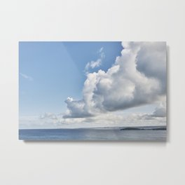 Cloudscape over water at Fistral Beach, Newquay, Cornwall. Metal Print