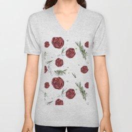 Roses pattern Unisex V-Neck