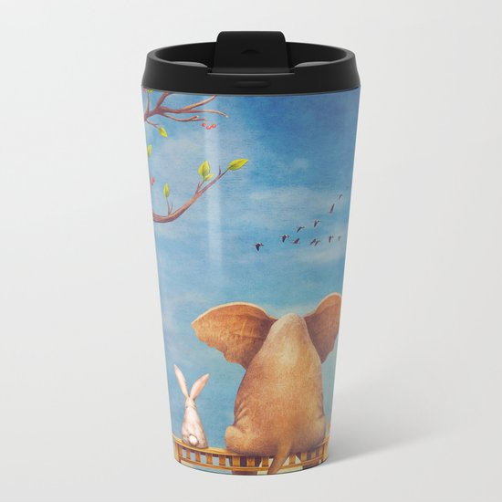 Elephant and rabbit sit on a bench on the glade Metal Travel Mug