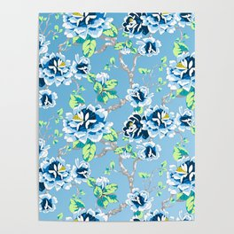 Chinoiserie Ming style Blue Floral Pattern Poster