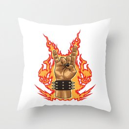 Devil Horns Sign - Heavy Metal Festival Gesture Throw Pillow