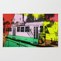 melbourne Area & Throw Rugs featuring Melbourne Tram by Jan Neil Oz Images
