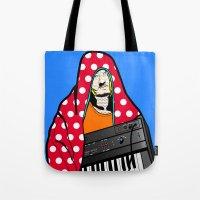 lichtenstein Tote Bags featuring Röyksopp Forever Roy Lichtenstein Inspired Portrait 2 by Alli Vanes