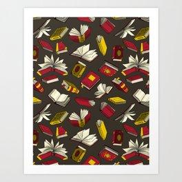 Spellbooks, maroon Art Print