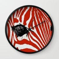 zebra Wall Clocks featuring Zebra by Saundra Myles