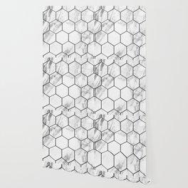 Marble hexagonal tiles - geometric beehive Wallpaper