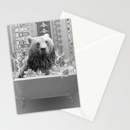 Brown Bear in Bathtub with Lotos Flowers - black & white Stationery Cards