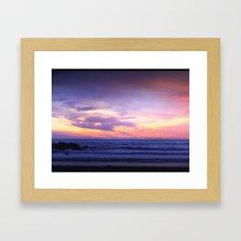 Sleepy Sunset Waves Goodnight Framed Art Print