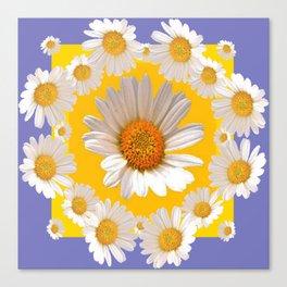 DECORATIVE YELLOW WHITE DAISIES Canvas Print
