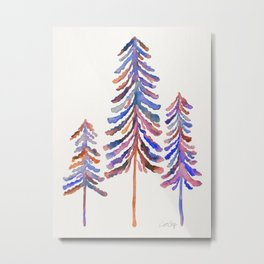 Pine Trees – 90s Color Palette Metal Print