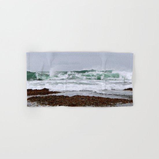 Green Waves Crashing into White Foam Hand & Bath Towel