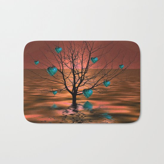 Magical Turquoise Heart Tree Bath Mat
