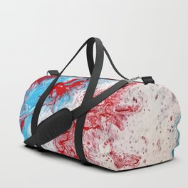 Marble Red Blue Paint Splatter Abstract Painting by Jodilynpaintings Red Duffle Bag