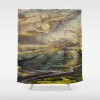 battlefield Shower Curtains featuring Vintage Map of The Gettysburg Battlefield (1863) by BravuraMedia