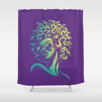 funky Shower Curtains featuring Funky Medusa by Waynem