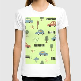Seamless Pattern with Hand Drawn Cars. Scandinavian Style. T-shirt