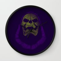 skeletor Wall Clocks featuring SKELETOR / HE-MAN by UNDEAD MISTER / MRCLV