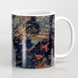 Empire State Lit Up Red at Night Landscape Painting by Jeanpaul Ferro Coffee Mug