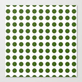 Simply Polka Dots in Jungle Green Canvas Print