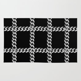 Chain Plaid on Black Rug