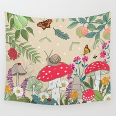 Toadstools in the Woods Wall Tapestry