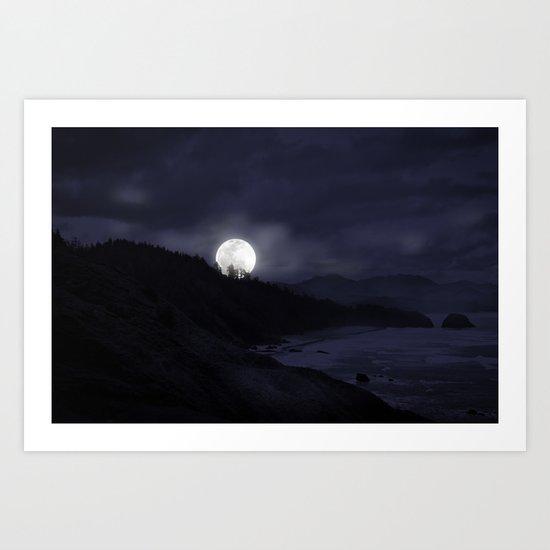 Oregon Coast at Midnight Art Print