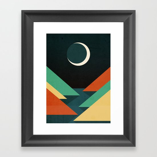 Quiet stream under crescent moon Framed Art Print