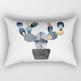 Blue & Gold Cactus Rectangular Pillow