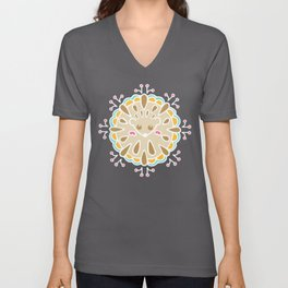 Hedgehog Paisley_Colors and Green Unisex V-Neck