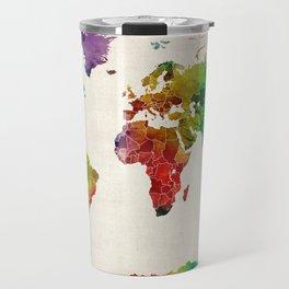 Watercolor Map of the World Map Travel Mug