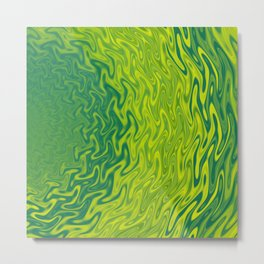 Ripples Fractal in Greens Metal Print