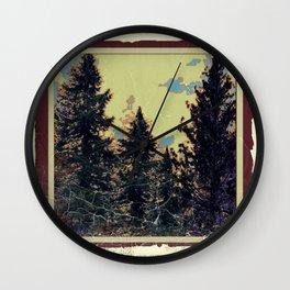 SHABBY CHIC ANTIQUE PHOTO PINE TREES ART Wall Clock