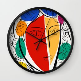 Pop-art Portrait Red and Yellow Wall Clock
