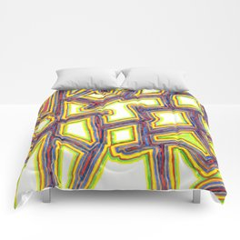 Outlined Fancy White Shapes Pattern Comforters