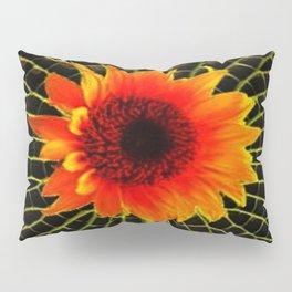 Organic Red Sunflower Grey-Lime Patterned Art Pillow Sham