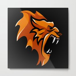 Angry Lion Face Metal Print