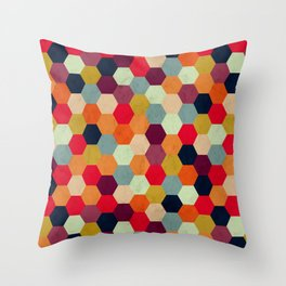 Colorful Beehive Pattern Throw Pillow
