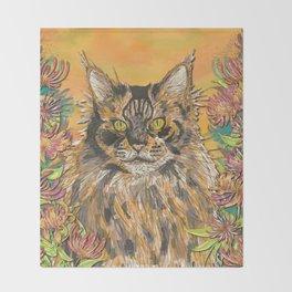 Honeysuckle Cat (Maine Coon Cat) Throw Blanket