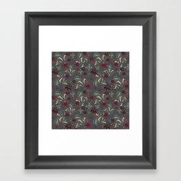 Burgundy flowers on gray Framed Art Print