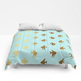 Gold Metal Foil Fish Pattern-Golden Fishes on Aqua Comforters
