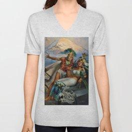 Caballero Aztec Warrior and Queen Mexican Yucatan romantic portrait painting Unisex V-Neck