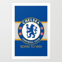 chelsea fc Art Prints featuring Chelsea by DeBUM